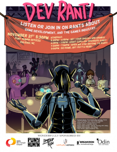 Poster for the Dev Rant hosted for the IGDA
